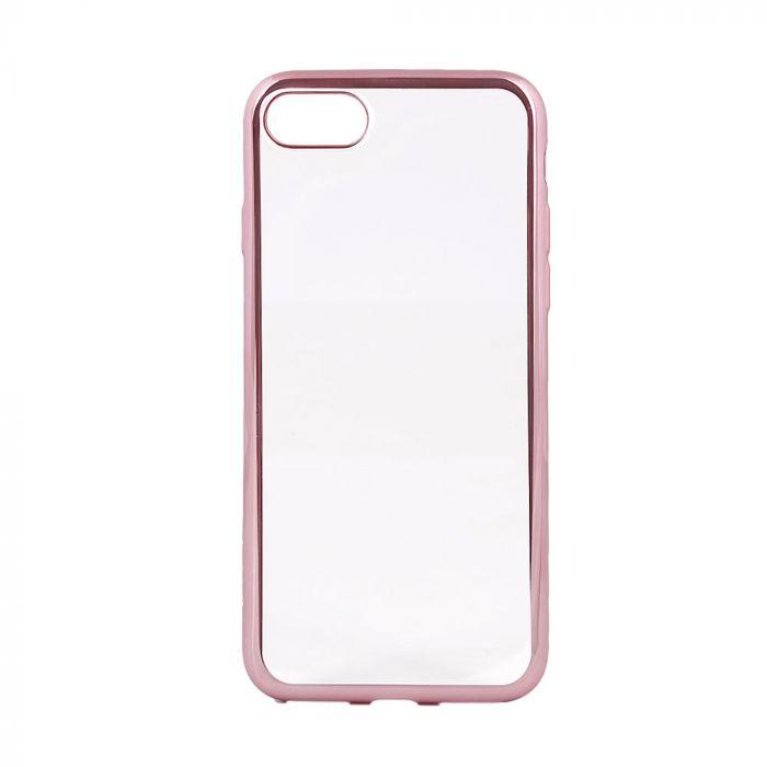 Husa iPhone SE 2 / 8 / 7 Devia Silicon Glitter Soft Rose Gold (margini electroplacate)