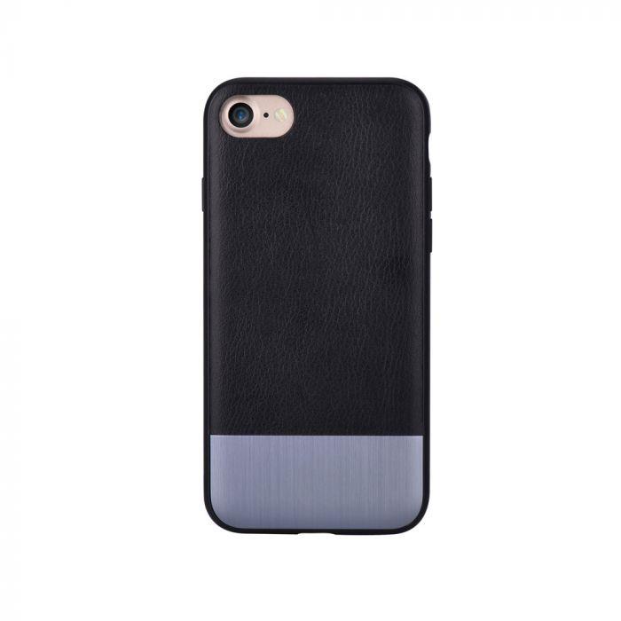 Carcasa iPhone SE 2 / 8 / 7 Devia Commander Black (piele naturala, margini flexibile)