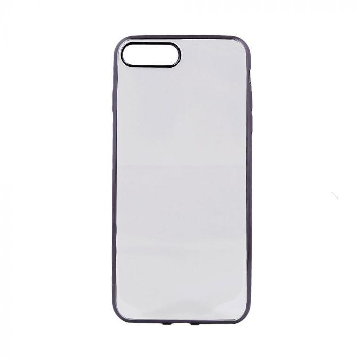 Husa iPhone 8 Plus / 7 Plus Devia Silicon Glitter Soft Gun Black (margini electroplacate)