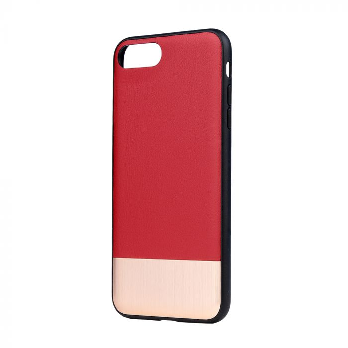 Carcasa iPhone 8 Plus / 7 Plus Devia Commander Red (piele naturala, margini flexibile)
