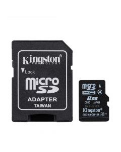 Card Memorie Kingston MicroSDHC 8 GB Clasa 4 + Adaptor SD