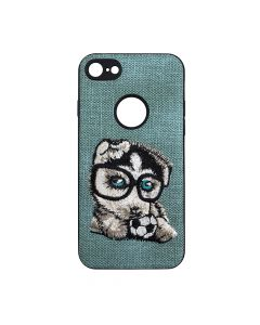 Carcasa iPhone 6/6S Lemontti Embroidery Gray Puppy