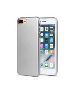 Carcasa iPhone 8 Plus Meleovo Pure Gear II Silver (culoare metalizata fina, interior piele intoarsa)