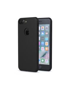 Carcasa iPhone 8 Plus Meleovo 360 Shield Black (culoare mata fina, captuseala din microfibra)