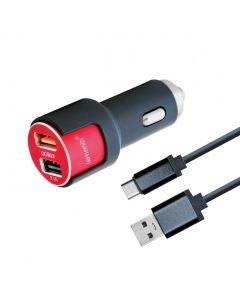Incarcator Auto Type-C Lemontti Qualcomm 3.0 Dual USB Negru-Rosu 3.1A (cablu detasabil)
