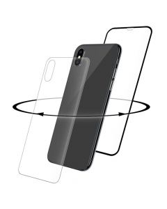 Folie iPhone X / XS Eiger Sticla 3D 360 Clear Black (0.33mm, 9H, curved, folie sticla spate inclusa