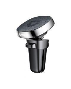 Suport Baseus Auto Privity Magnetic Silver (piele naturala, rotatie 360, prindere la sistemul de ven