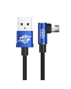 Cablu MicroUSB Baseus MVP Elbow USB Blue (1m, output 2A, unghi 90, impletitura nylon)
