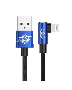 Cablu Lightning Baseus MVP Elbow USB Blue (1m, output 2A, unghi 90, impletitura nylon)