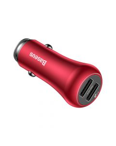 Incarcator Auto Baseus Gentry Dual USB Quick Charge Red (USB QC3.0 max 3A, USB max 2.4A)
