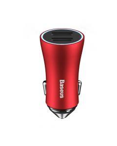 Incarcator Auto Baseus Golden Contactor Dual USB Intelligent Red (2xUSB max 2.4A)