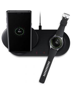 Incarcator Fast Charging Wireless Samsung Duo Black (Stand + Pad)