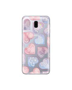 Husa Samsung Galaxy J6 Plus Lemontti Silicon Art Hearts