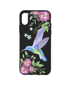Husa iPhone XS / X Just Must Silicon Printed Embroidery Colibri