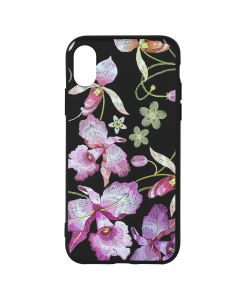 Husa iPhone XS / X Just Must Silicon Printed Embroidery Pink Flowers