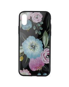 Carcasa Sticla iPhone XS Max Just Must Glass Diamond Print Flowers Black Background
