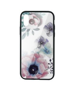Carcasa Sticla iPhone XS Max Just Must Glass Diamond Print Flowers White Backgound