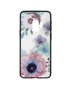 Carcasa Sticla Samsung Galaxy S9 G960 Just Must Glass Diamond Print Flowers White Backgound