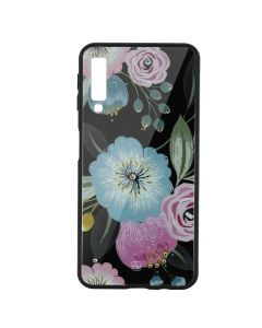 Carcasa Sticla Samsung Galaxy A7 (2018) Just Must Glass Diamond Print Flowers Black Background