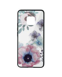 Carcasa Sticla Huawei Mate 20 Pro Just Must Glass Diamond Print Flowers White Backgound