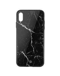 Carcasa Sticla iPhone XS Max Just Must Glass Print Black Marble