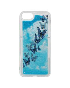 Carcasa iPhone 8 / 7 Lemontti Liquid Sand Butterflies Glitter