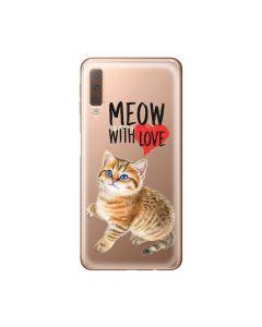 Husa Samsung Galaxy A7 (2018) Lemontti Silicon Art Meow With Love