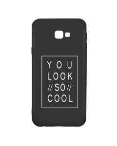 Husa Samsung Galaxy J4 Plus Lemontti Silicon Black Silky Art You Look So Cool White