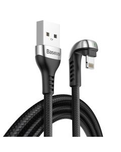 Cablu Lightning Baseus Green U-Shaped Lamp Mobile Game Cable Black (2m, output 1.5A, impletitura tex