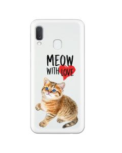 Husa Samsung Galaxy A20e Lemontti Silicon Art Meow With Love