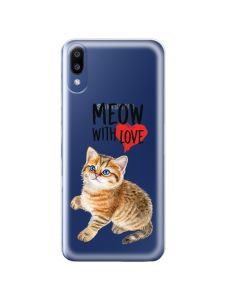 Husa Samsung Galaxy M10 Lemontti Silicon Art Meow With Love