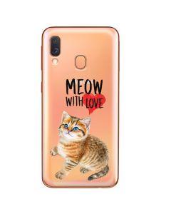 Husa Samsung Galaxy A40 Lemontti Silicon Art Meow With Love