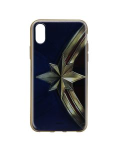Husa iPhone X Marvel Silicon Captain Marvel 001 Gold