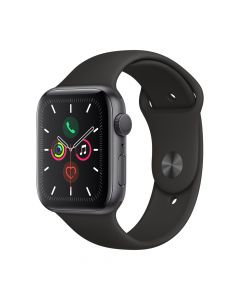 Apple Watch 5 GPS Space Grey Aluminium Case 44mm cu Black Sport Band