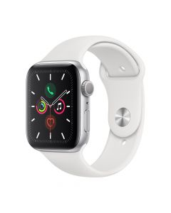 Apple Watch 5 GPS Silver Aluminium Case 44mm cu White Sport Band
