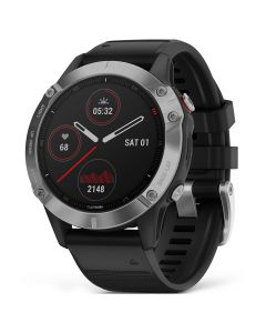 Smartwatch Garmin Fenix 6 Silver cu Black Band (47mm)