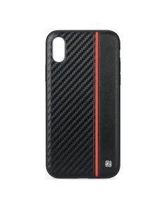 Husa iPhone XS / X Meleovo Carbon Black & Red (placuta metalica integrata)