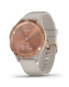 Smartwatch Garmin Vivomove 3S Gold, Silicone Light Sand (carcasa din otel)