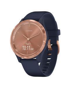 Smartwatch Garmin Vivomove 3S Gold, Silicone Navy Blue (carcasa din otel)