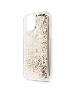 Husa iPhone 11 Pro Max Guess Colectia Hearts Glitter Auriu