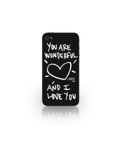 Folie iPhone 4/4S Lost Dog Design 3M Skin You Are Wonderfull & I Love You - Black (folie ecran inclu