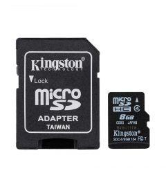 Card Memorie Kingston MicroSDHC 8 GB Clasa 4 + Adaptor SD