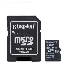 Card Memorie Kingston MicroSD XC 64 GB Clasa 10 + Adaptor SD (45MB/s)