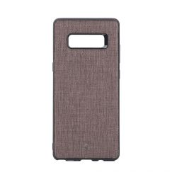 Carcasa Samsung Galaxy Note 8 Occa Linen Car Brown (margini flexibile, material textil, placuta meta