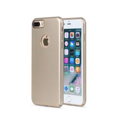 Carcasa iPhone 8 Plus Meleovo 360 Shield Gold (culoare metalizata fina, captuseala din microfibra)