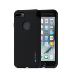Husa iPhone 8 Plus Meleovo Liquid Silicone Jacket Black (touch ultrasoft, catifelat)