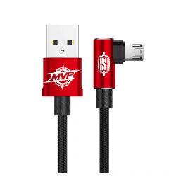 Cablu MicroUSB Baseus MVP Elbow USB Red (1m, output 2A, unghi 90, impletitura nylon)