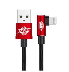Cablu Lightning Baseus MVP Elbow USB Red (2m, output 1.5A, unghi 90, impletitura nylon)