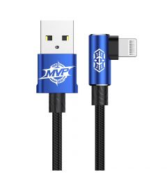 Cablu Lightning Baseus MVP Elbow USB Blue (1m, output 2A, unghi 90, impletitura nylon)
