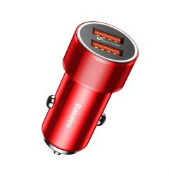 Incarcator Auto Baseus Small Screw Dual USB QC Red (max 2.4A pe fiecare port)